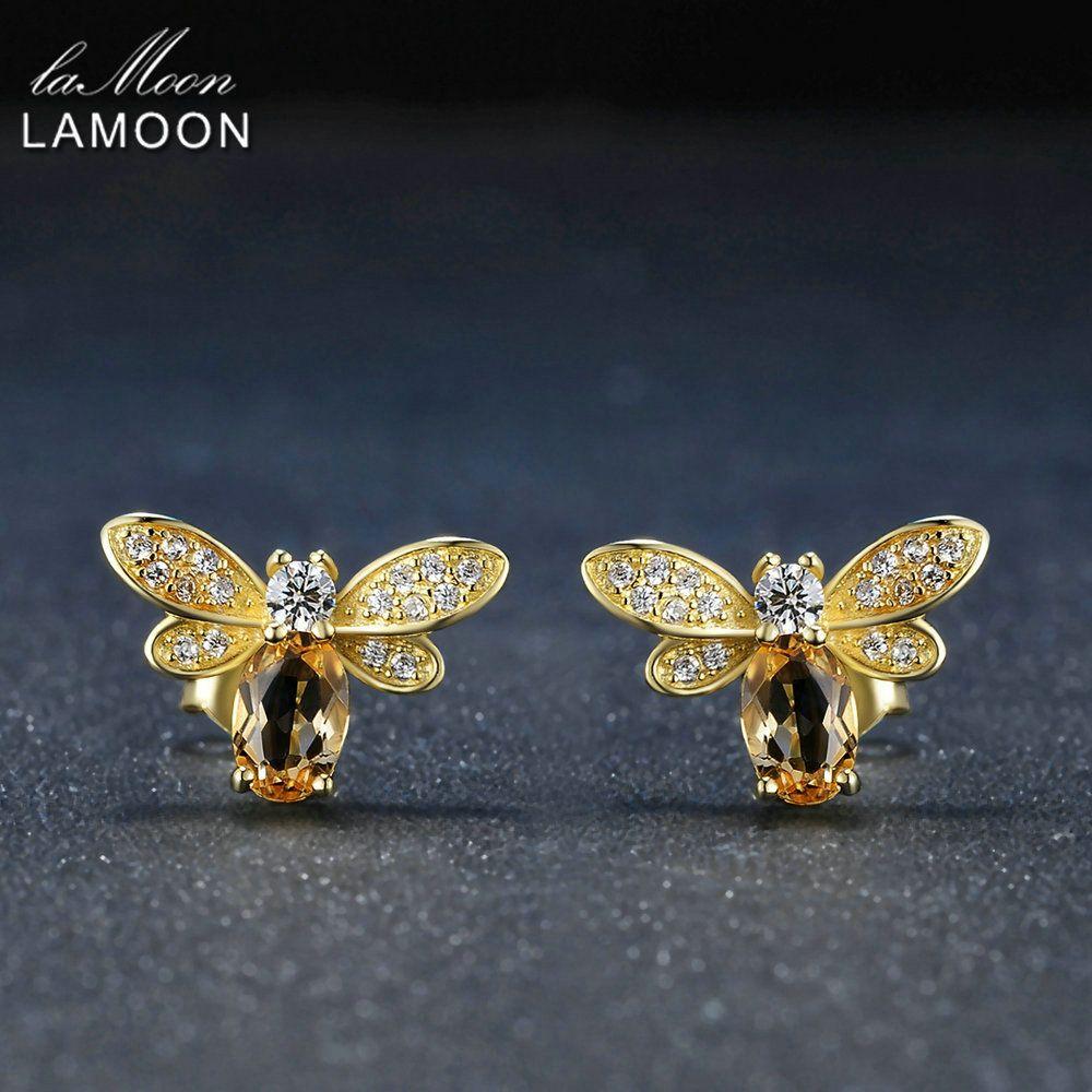 LAMOON Bee boucle d'oreille pour femmes 925 en argent Sterling Citrine pierres précieuses boucles d'oreilles 14K plaqué or jaune bijoux fins LMEI041
