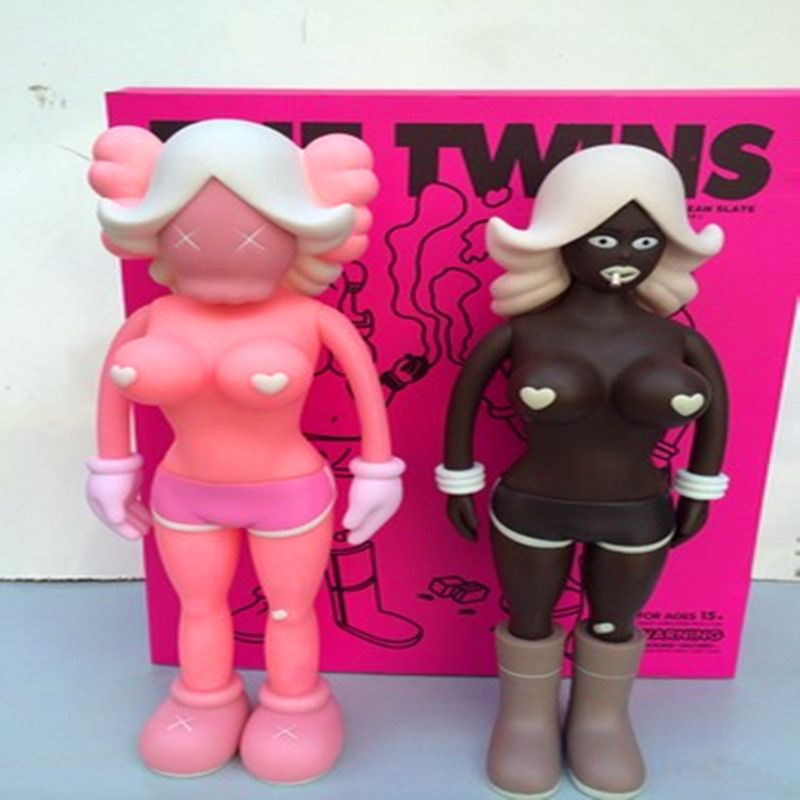Medicom Toy KAWS Reas The Twins Mono BFF Street Art PVC Action Figure Collectible Model Toy 2 Colors Grey/Black 40cm F110