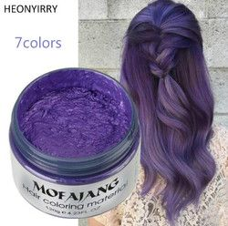 FashionUnisex Color Hair Wax Dye Color Styling Temporary Colors Cream BLUE Burgundy Gray Hair Dye Wax Easy Wash Plants Component