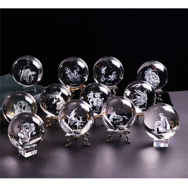 60 MM 3D signe du zodiaque étoile boule de cristal Laser gravé sphère de verre cristal artisanat décor à la maison cadeau d'anniversaire ornement