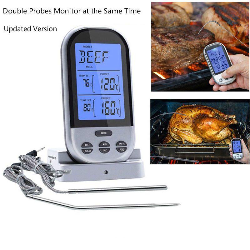 RF sans fil thermomètre alimentaire mise à niveau Double sondes numérique minuterie de température alarme four barbecue Grill viande cuisine thermomètre