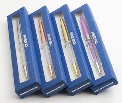 Nouvelle dame étudiant belle cristal stylo avec cristales éléments boîte au détail cas stylo À Bille