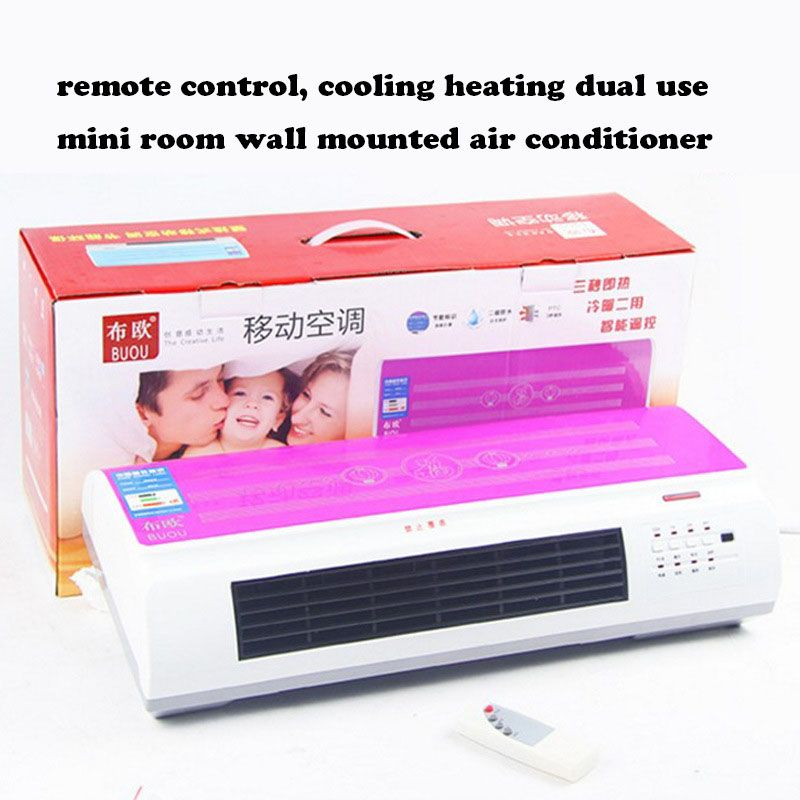 2000W Wall Mounted Air Cooler Conditioner Heater Fan Heating Cooling Room Bathroom Waterproof Remote Timing Air Conditioning Fan