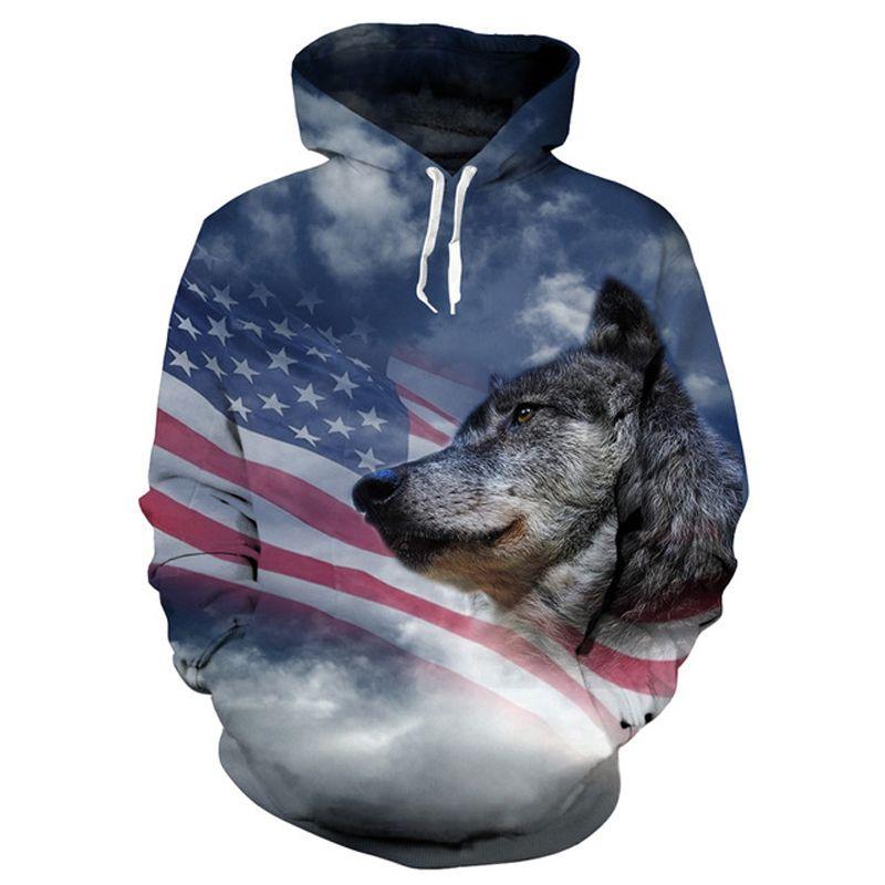 ONSEME Cool USA Flag Wolf 3D Hoodies Pullovers Men/Women Hipster Animal Hooded Sweatshirts Unisex Adult Hoodie Drop <font><b>Ship</b></font>