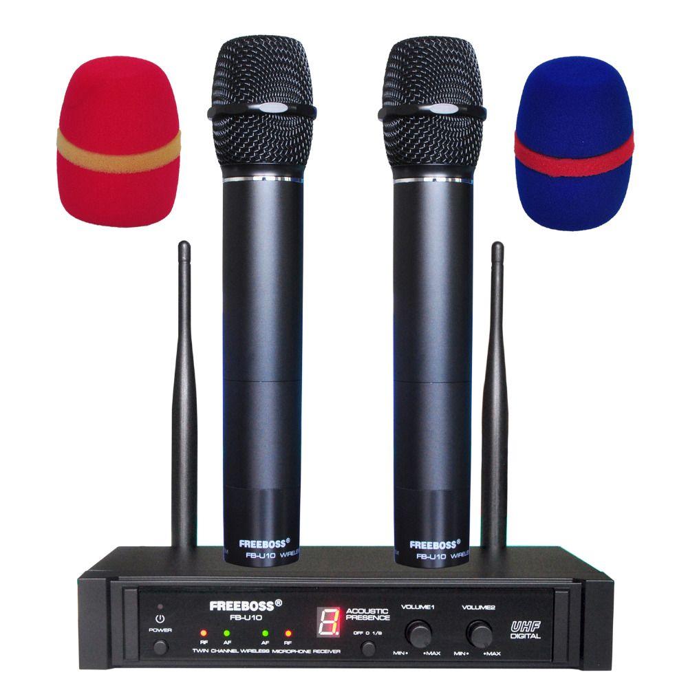 Freeboss FB-U10 двойной путь цифровой UHF Беспроводной микрофон с 2 металлические КПК