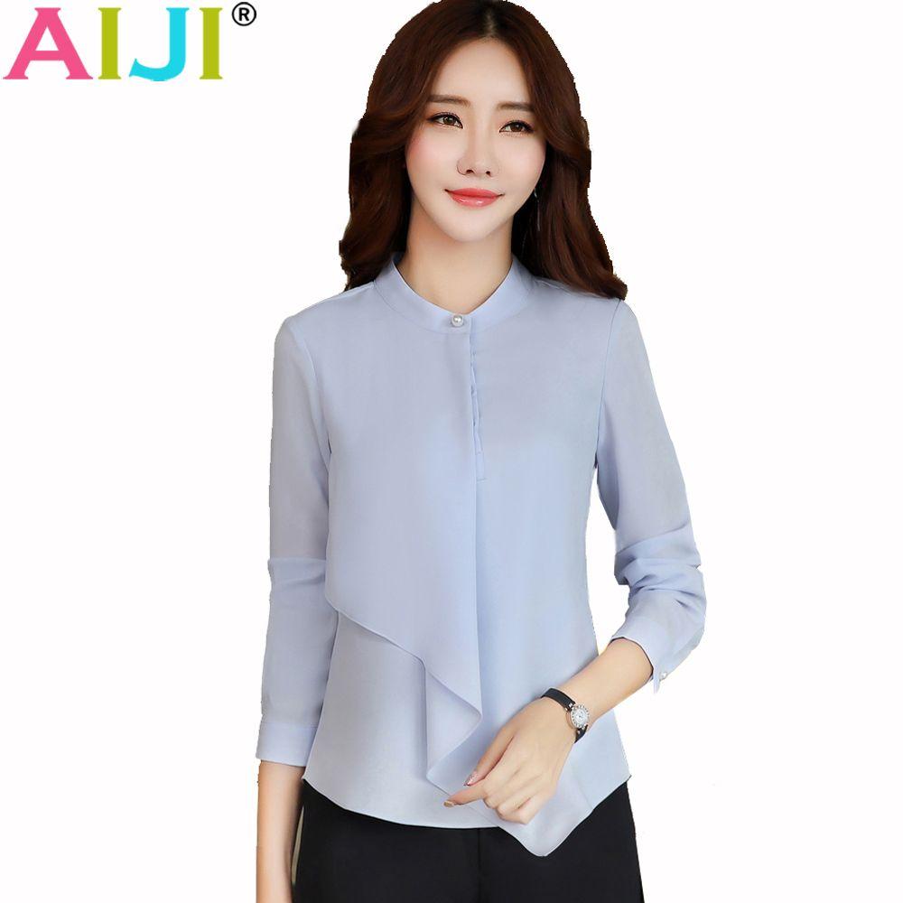 Spring Summer elegant long sleeve blouses women OL career collar chiffon shirts tops ladies office business plus size work wear