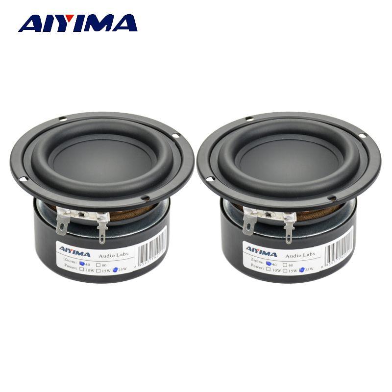 Aiyima 2 PCS Tweeter Audio Haut-Parleur Portable Mini Haut-parleurs Stéréo Woofer Gamme complète Haut-Parleur Corne 3 pouce 4 Ohm 8 Ohm 25 W