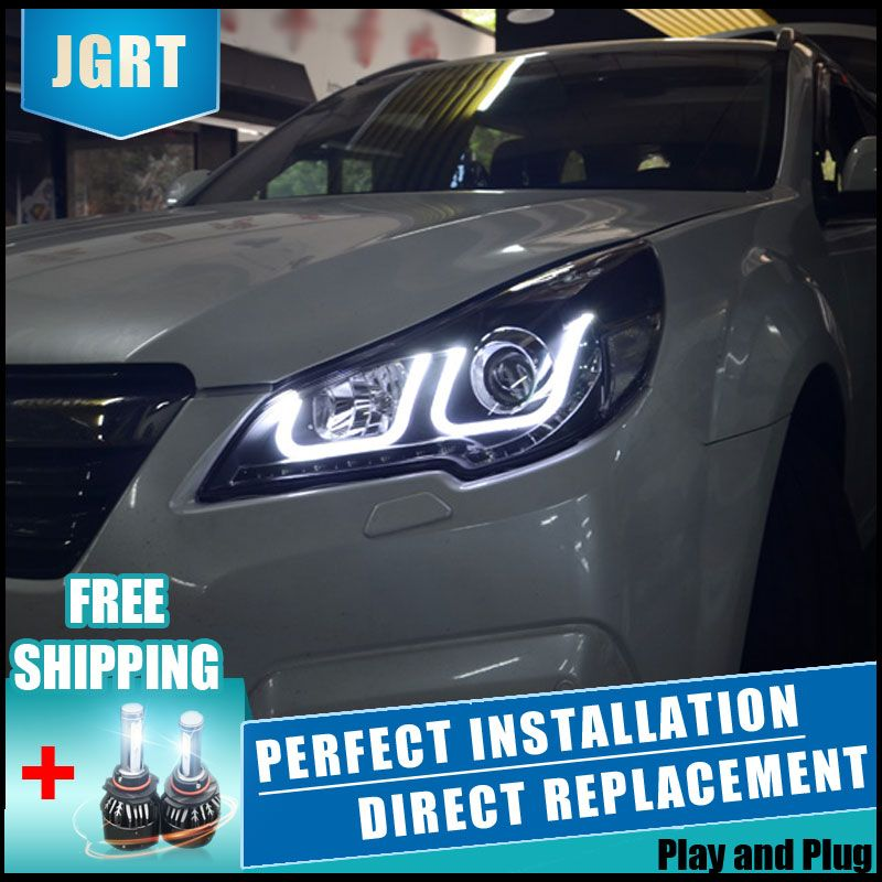 2PCS LED Headlights For Subaru Outback 2010-2013 Car Led Lights Double Xenon Lens Car Accessories Daytime Running Lights