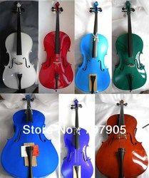 Mahasiswa Cello Cello kayu Solid Spruce top maple kembali Merah Hitam Putih Biru Hijau Dll 4/4 3/4 1/2