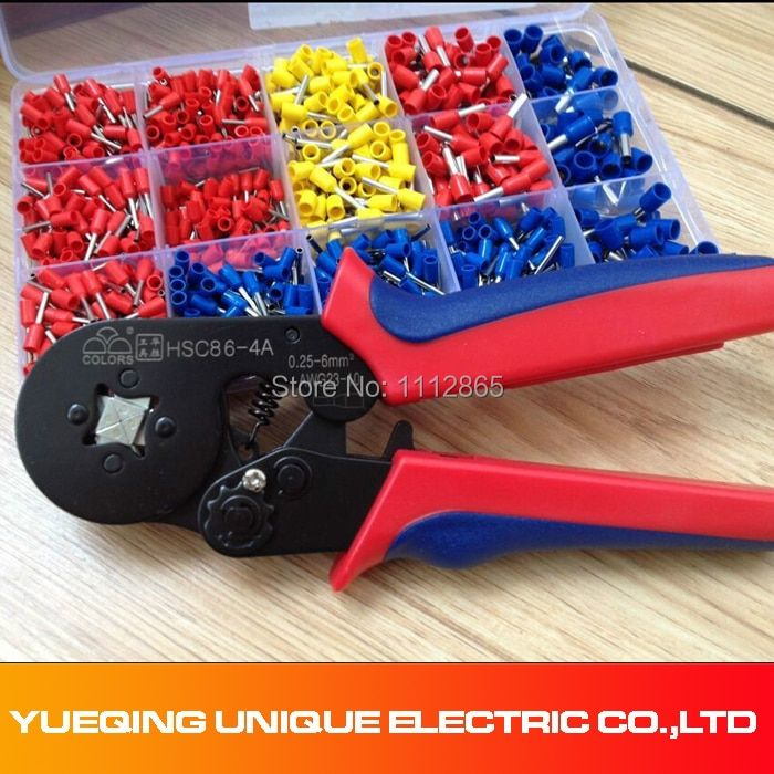 Free Shipping 0.25-6mm2 Wire Ferrule Crimp tool +Mixed 1000 Piece Wire Ferrules Kit