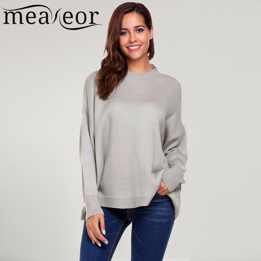Meaneor Women Loose Sweater Casual Long Sleeve Drop Shoulder Oversized Solid Loose Pullovers Warm Winter Autumn Sweaters New Top