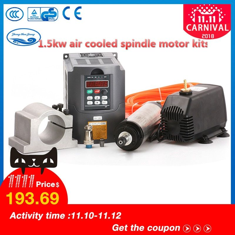 1.5kw Water Cooled Spindle Motor & 1.5kw VFD / Interver & 65mm clamp & pump /pipe& 13pcs ER11(1-7mm) For CNC Router