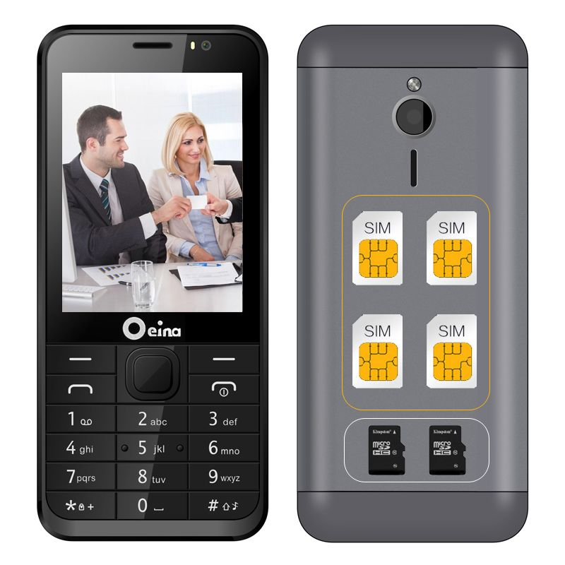 Oeina 230 four SIM quad SIM cards 2.8 inch HD big screen 4 SIM card 4 standby Dual TF card dual FM camera cell mobile phone P111