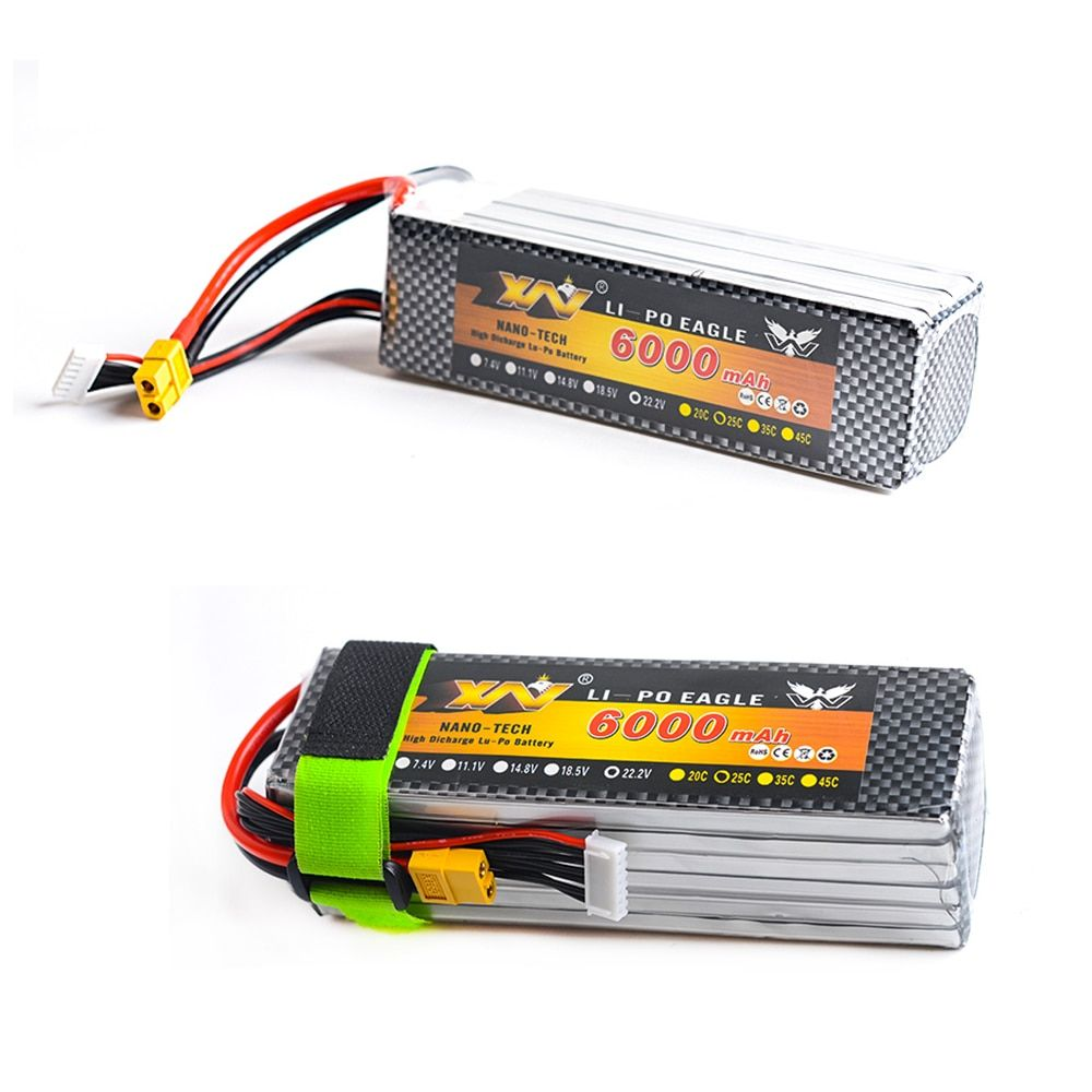 1pcs YW RC Lipo Battery 7.4V 11.1V 6000mah 25C AKKU Batteria XT60 Plug For Helicopter RC Model Trex 500 Traxxas Car Boat