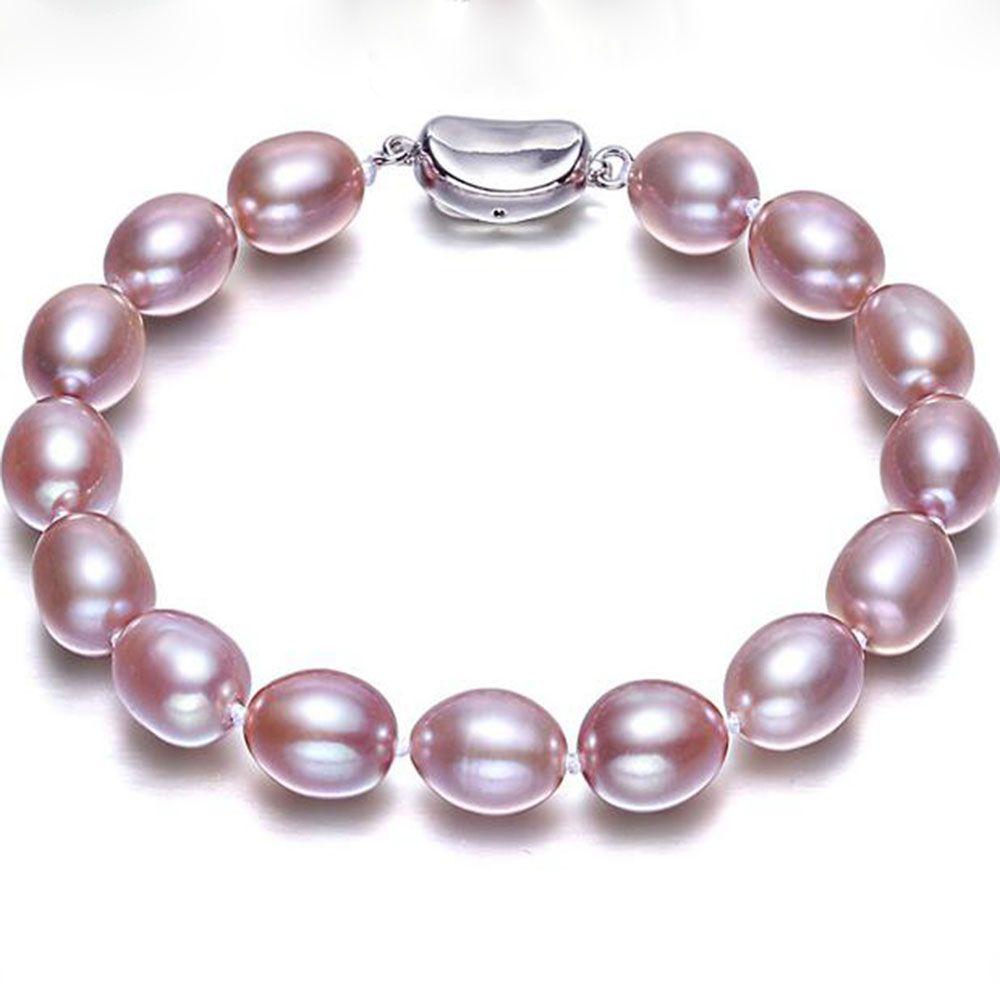 YKNRBPH Femmes de Perle D'eau Douce Bracelet 7-8mm S925 Sterling Argent Riz De Mariage/de bal Bracelets bijoux fins