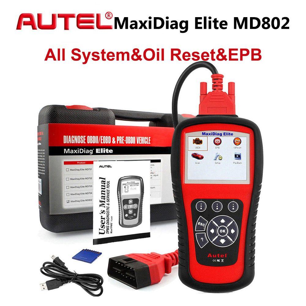 AUTEL MaxiDiag Elite MD802 Alle System OBD2 Diagnose Werkzeug Auto Detektor OBDII Code Reader Scanner für EPB Öl Reset PK MD805