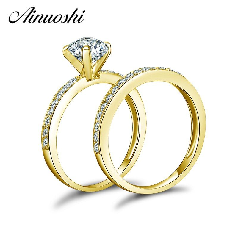 AINUOSHI 14 K Solide Gelb Gold Hochzeit Ring Sets 1 ct Round Cut Sona Simulierte Diamant Shinning Bague Frauen Engagement ring Sets