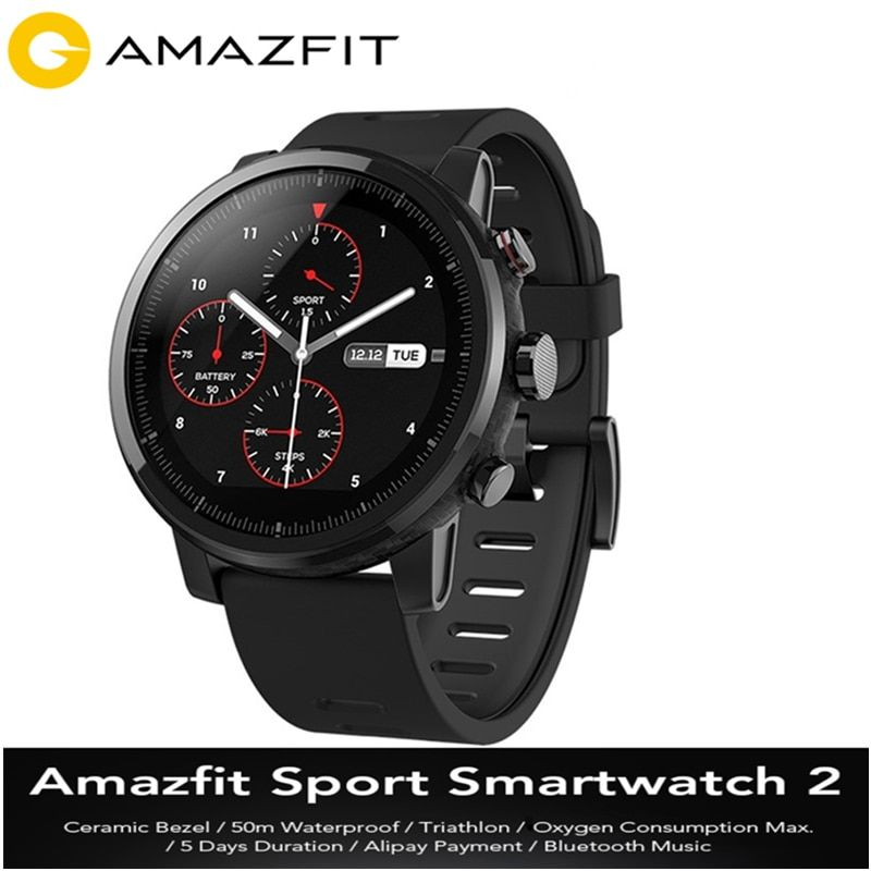 Original Huami Amazfit Smartwatch 2 Running 4GB ROM Xiaomi Chip Alipay Payment 50m Waterproof Bluetooth Anti-Lost Sports Watch