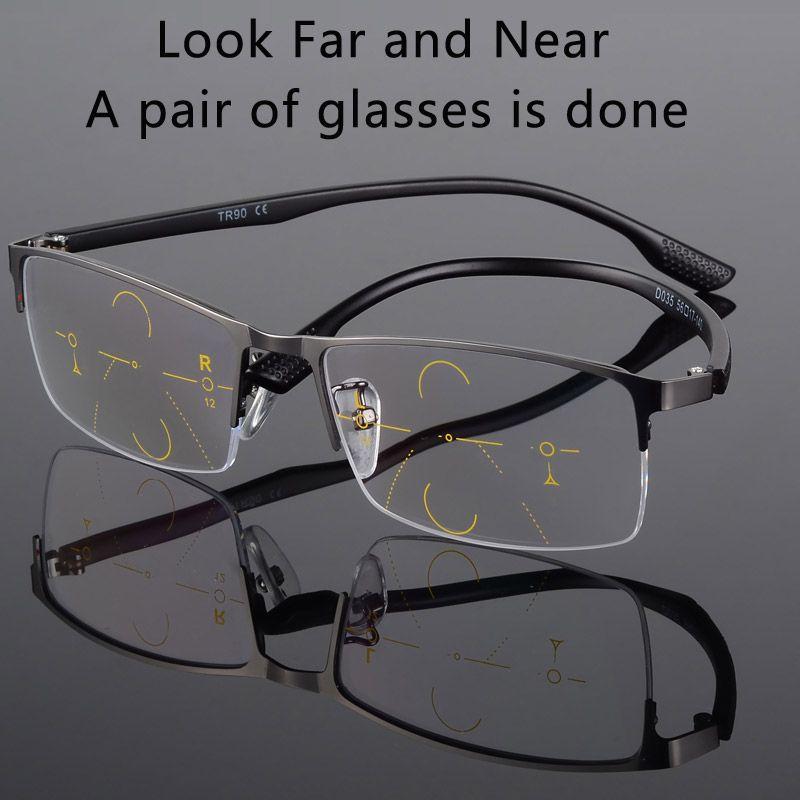 2017New hommes titane alliage qualité verres progressifs lunettes de lecture mode carré demi-jante classique lunettes multifocales pour hommes