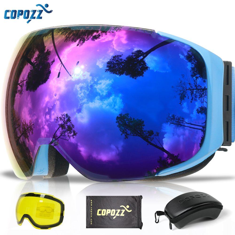 COPOZZ Magnetic Ski Goggles with 2s Quick-change Lens and Case Set UV400 Protection Anti-fog Snowboard Ski Glasses for Men Women