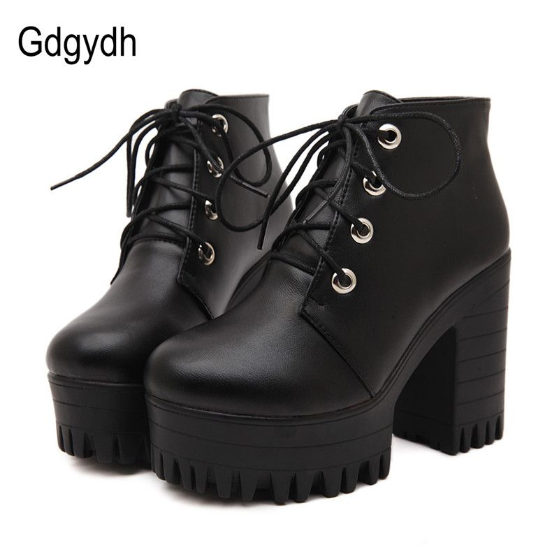 Gdgydh Brand Designers 2018 New Spring Autumn Women Shoes Black High Heels Boots Lacing Platform Ankle Boots Chunky Size 35-39