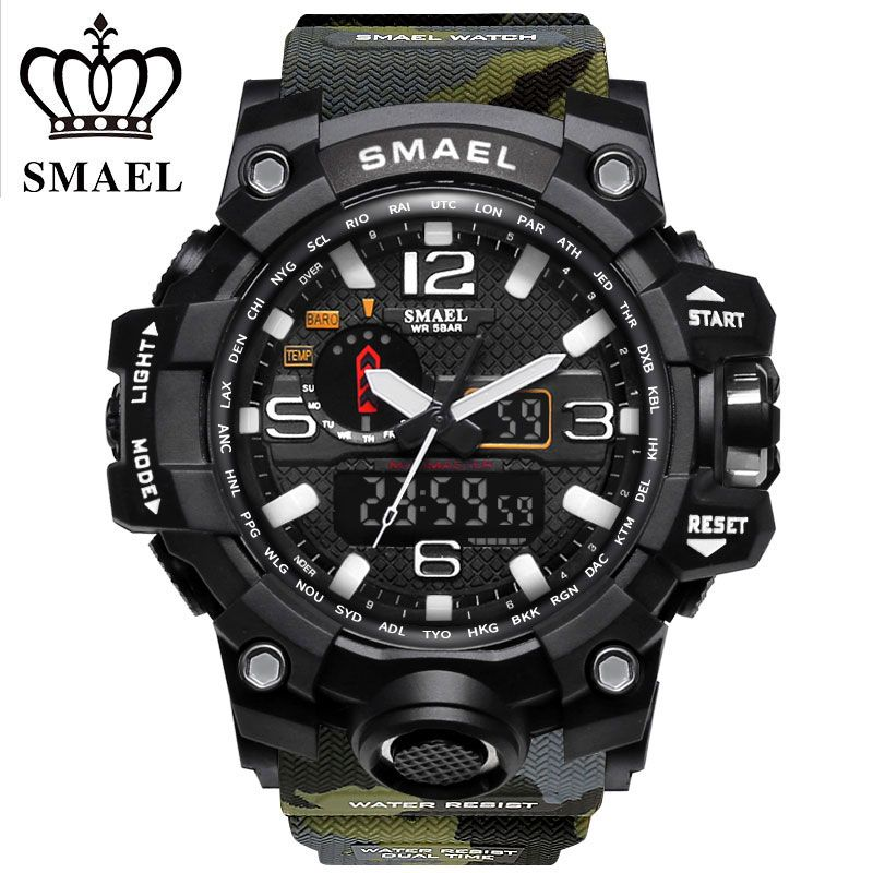SMAEL Brand Sports Watches Men Dual Time Camouflage Military Watch Men Army <font><b>LED</b></font> Digital Wristwatch 50M Waterproof Men's Clock
