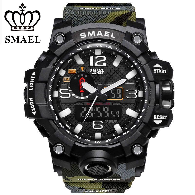 SMAEL Marque Sport Montres Hommes Dual Time Camouflage Militaire Montre Hommes Armée de LED Montre-Bracelet Numérique 50 M Étanche Hommes horloge