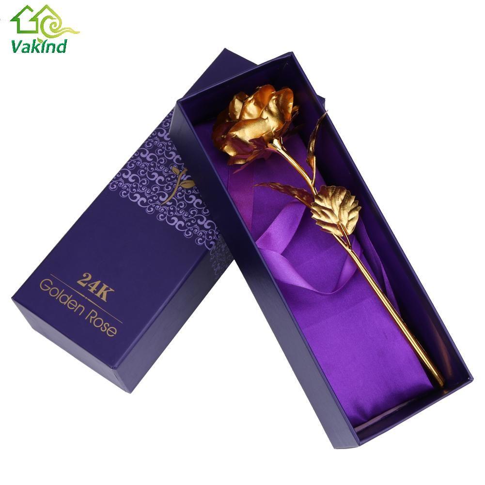 Décoration de la maison Fleurs Cadeau du Jour de Valentine 24 K Plaqué Or Rose Fleur Romantique pour Amant Fille Ami De Noël Cadeaux
