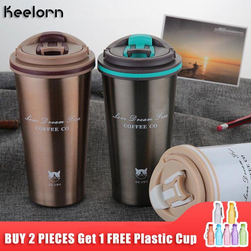 Keelorn tasse Thermos 500ML tasse à café avec couvercle thermotasse joint en acier inoxydable flacons sous vide tasse thermique pour bouteilles d'eau de voiture