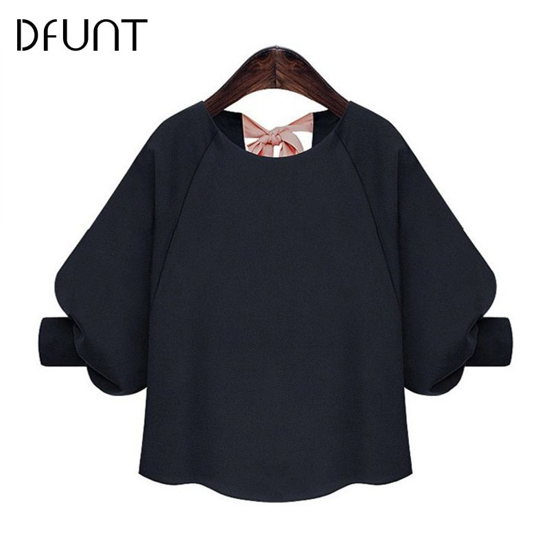 DFUNT Korean Solid Women Shirt Lace-up O-Neck Half Lantern Sleeve Bow Blouses Blue Summer Casual Top Plus Size Clothes