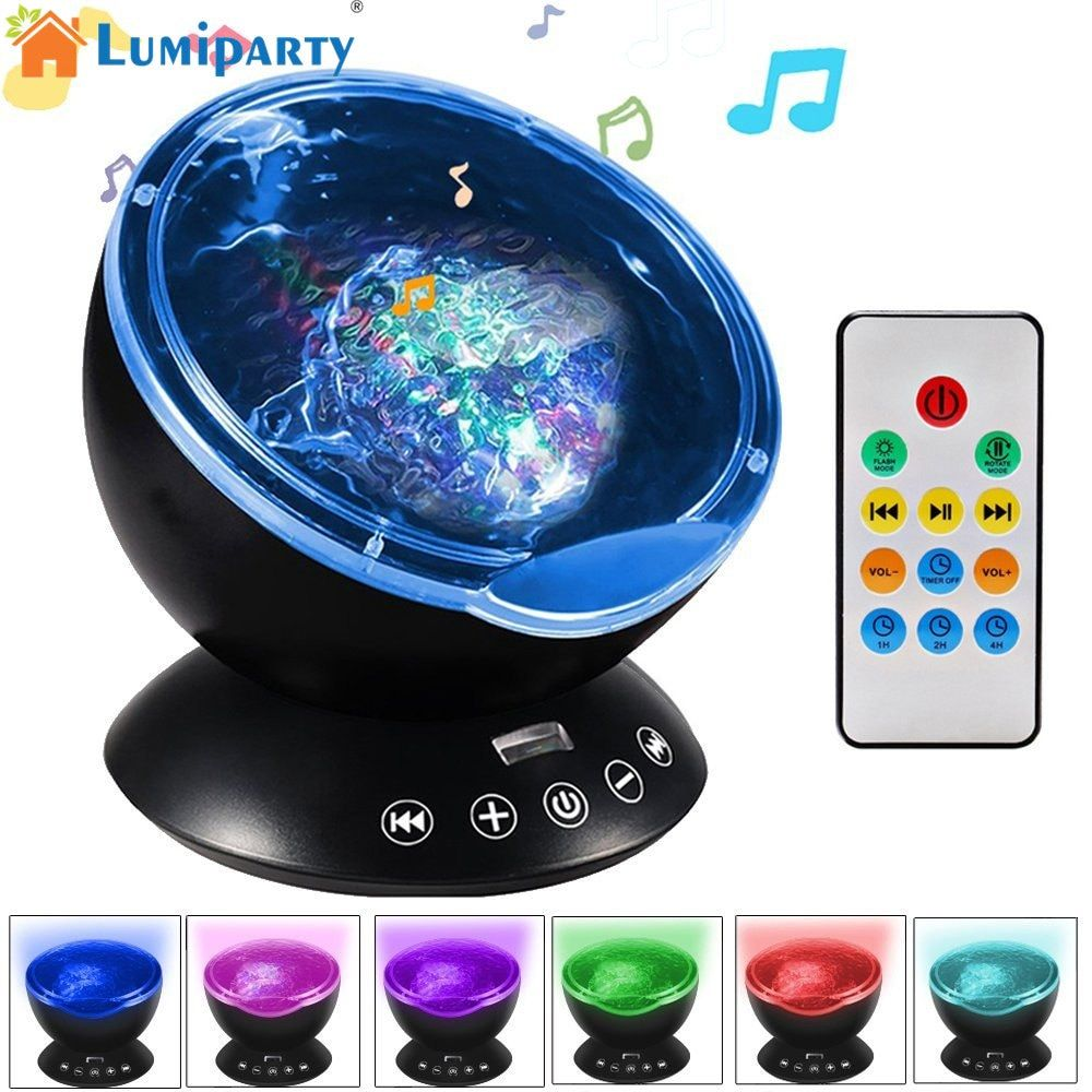 Lumiparty Remote Control Ocean Wave <font><b>Projector</b></font> 12 LED 7 Colors Night Light with Mini Music Player for Living Room and Bedroom