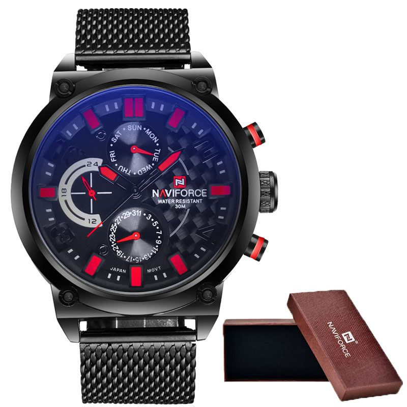 2016 Men's NAVIFORCE Luxury Brand Analog Quartz Watch Man 3ATM Waterproof Fashion Casual Sport Watches Men full steel Wristwatch