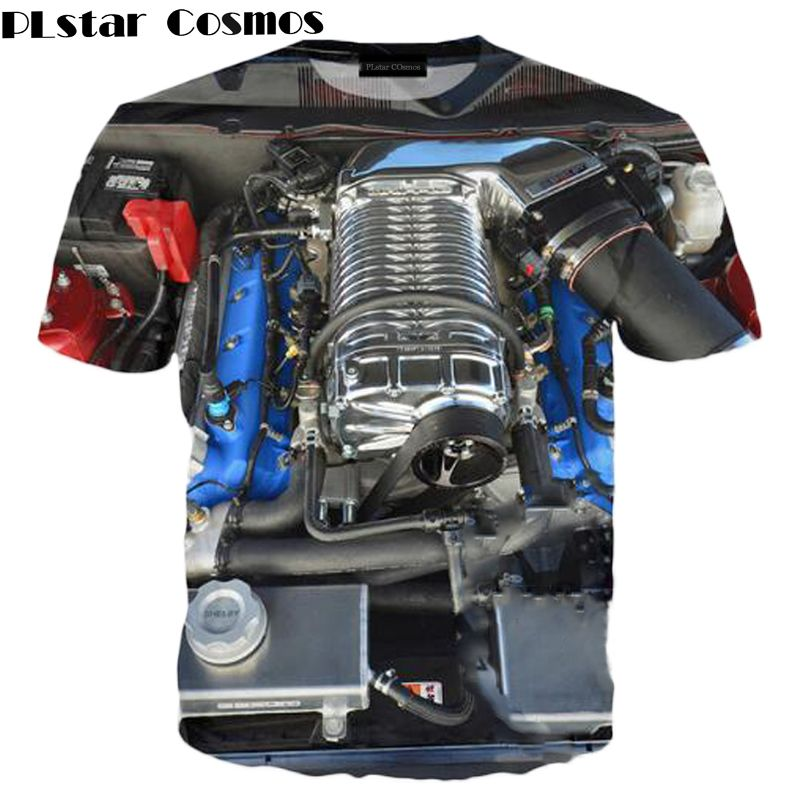 PLstar Cosmo Automotive Engine 3D All Over Print T Shirts Short Sleeve Hipster Car Shirts Hip Hop Top Tee Men Women Size