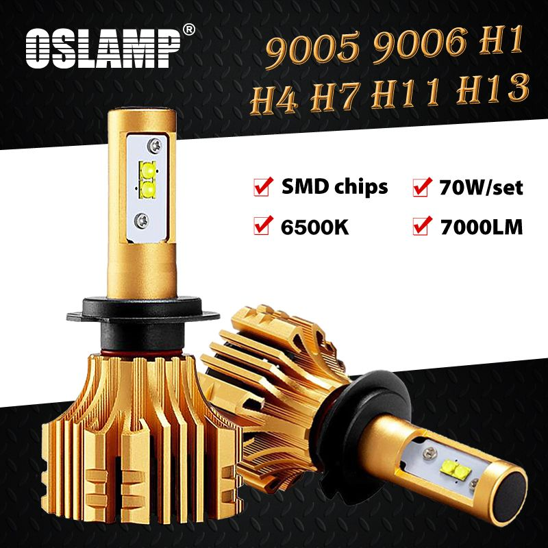 Oslamp H13 H4 Led Headlight Kits <font><b>6500K</b></font> Led SMD Chips 9005/HB3 9006/HB4 Led H1 H7 Car Bulbs 70W 7000LM H8/H11 Led Auto Fog Lamps