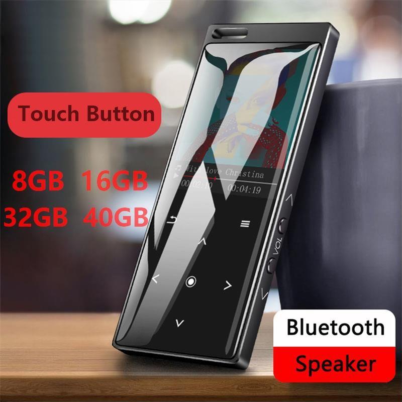 MP3 Joueur avec Bluetooth4.0 Bouton Tactile 8 GO/16 GO/32 GB/40 GO, Prend En Charge la Radio FM, Enregistreur Vocal, Prend En Charge la Carte SD jusqu'à 128 GO