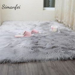 Simanfei Hairy Carpets 2019 New Sheepskin Plain Fur Skin Fluffy Bedroom Faux Mats Washable Artificial Textile Area Square Rugs