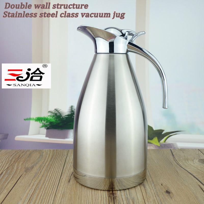 Sanqia 1.5L flacon à vide en acier inoxydable thermos bouteille thermos flacon à vide pressage à la main type café thé bouteille vide cruche