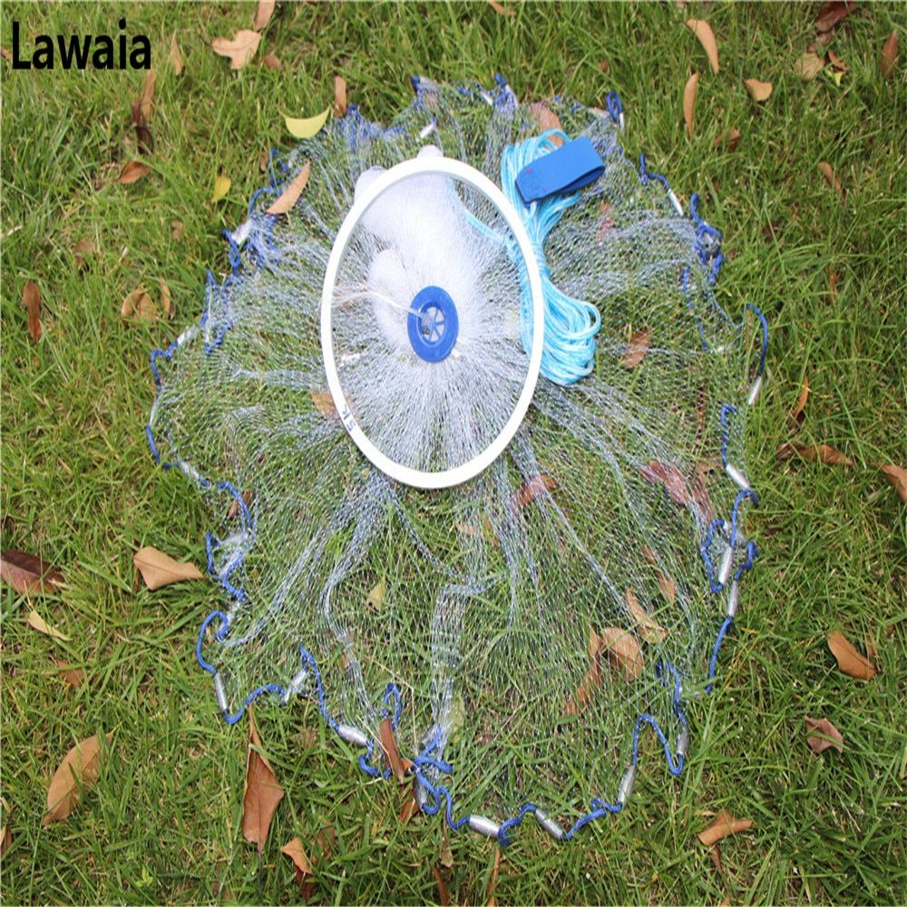 Lawaia cast Net with Ring American Style Cast Net Throwing Tool Fishing-net With Lead Pendant Fishing Network Diameter 2.4m-7.2m