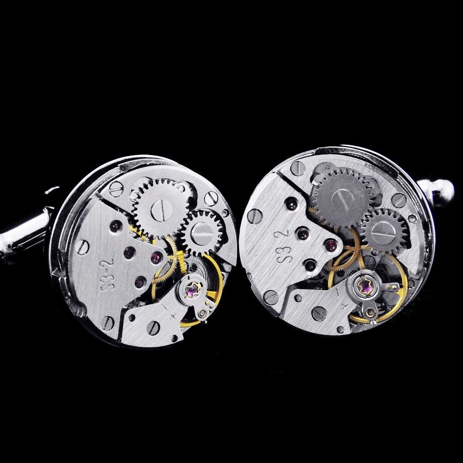 Limited Edition High quality metal New Mechanical Watch Core cufflink men's + Free Shipping !!! metal buttons