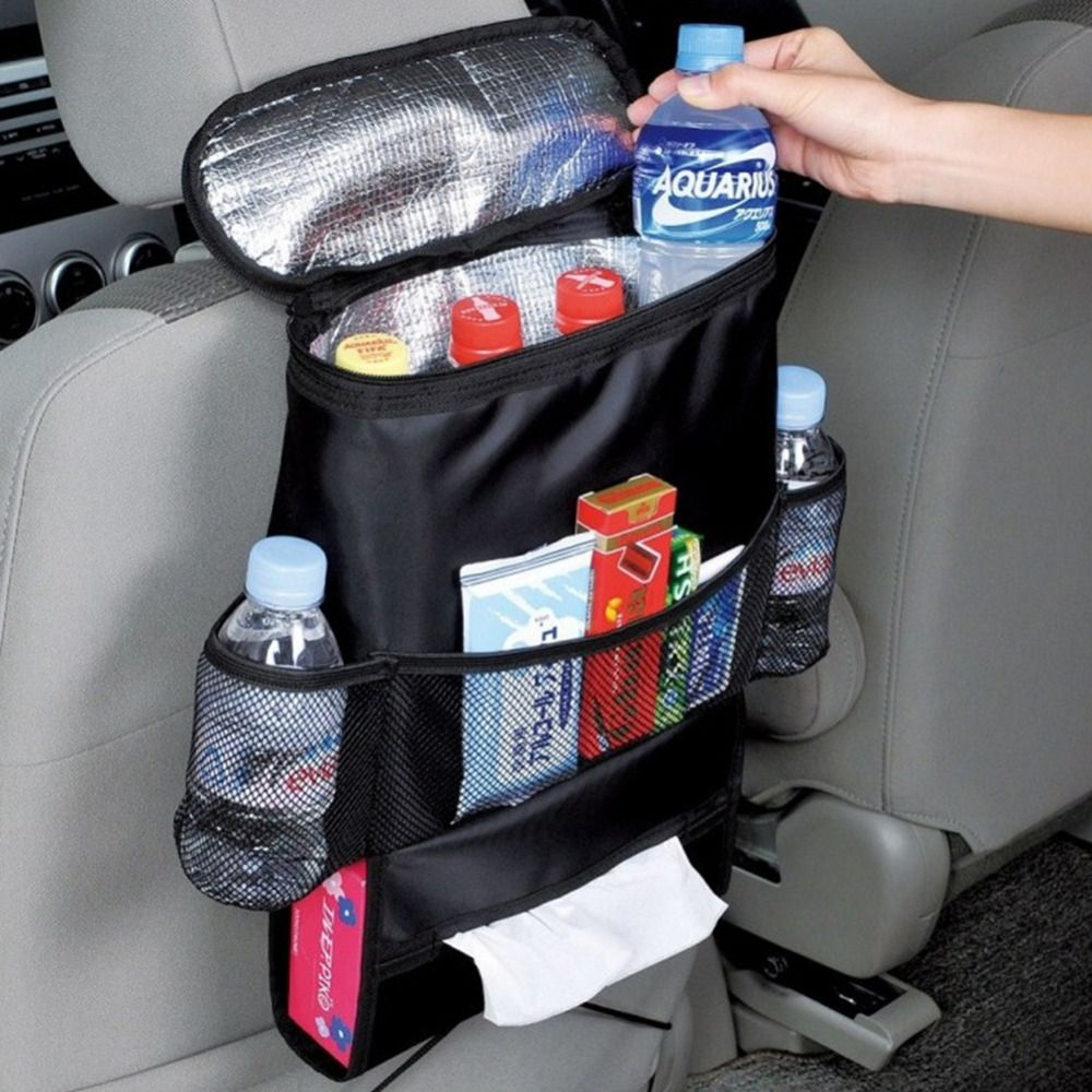 Car Breast Milk Storage Bag Seat Back Organizer Insulated Seat Back Drinks Holder Cooler Cool Wrap Bottle Bag with Mesh Pockets