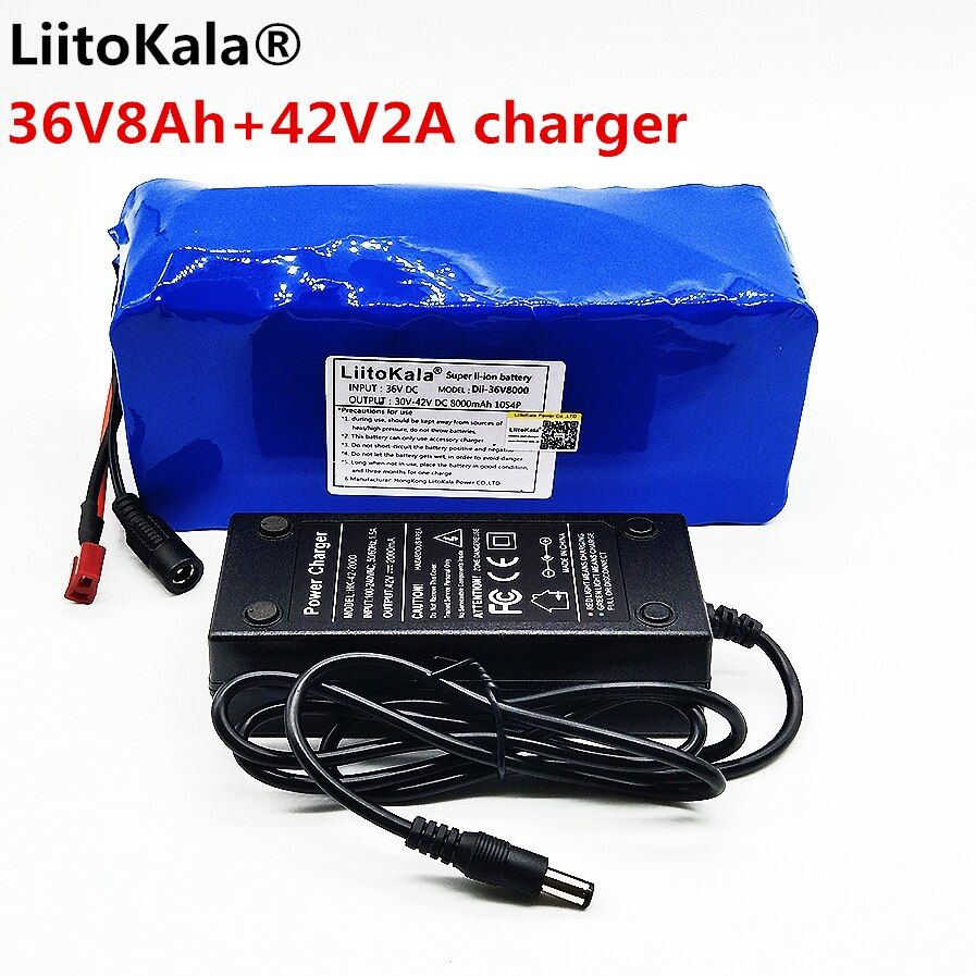 LiitoKala 36V 8ah 500W 18650 lithium battery 36V 8AH Electric bike battery with PVC case for electric bicycle 42V 2A charger
