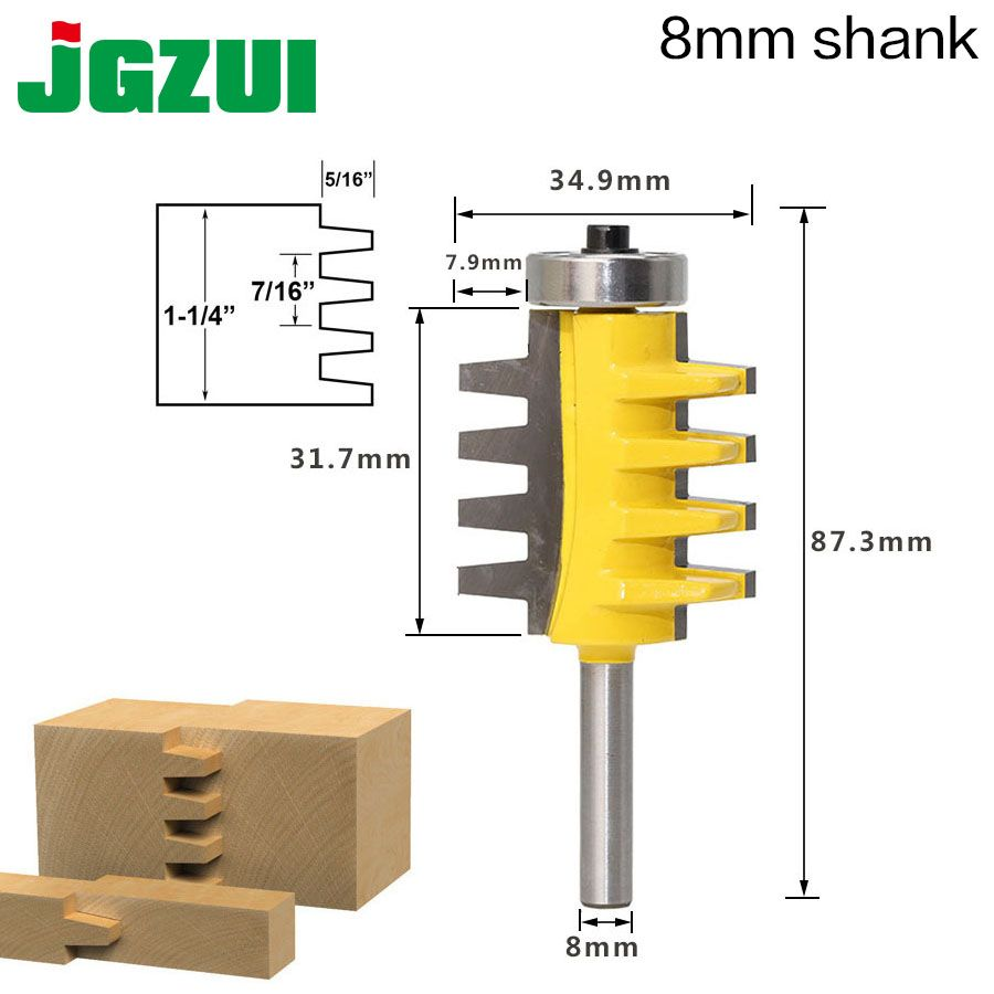8 tige Rail réversible doigt Joint colle routeur Bit cône Tenon boiserie Cutter outils électriques bois routeur Cutter
