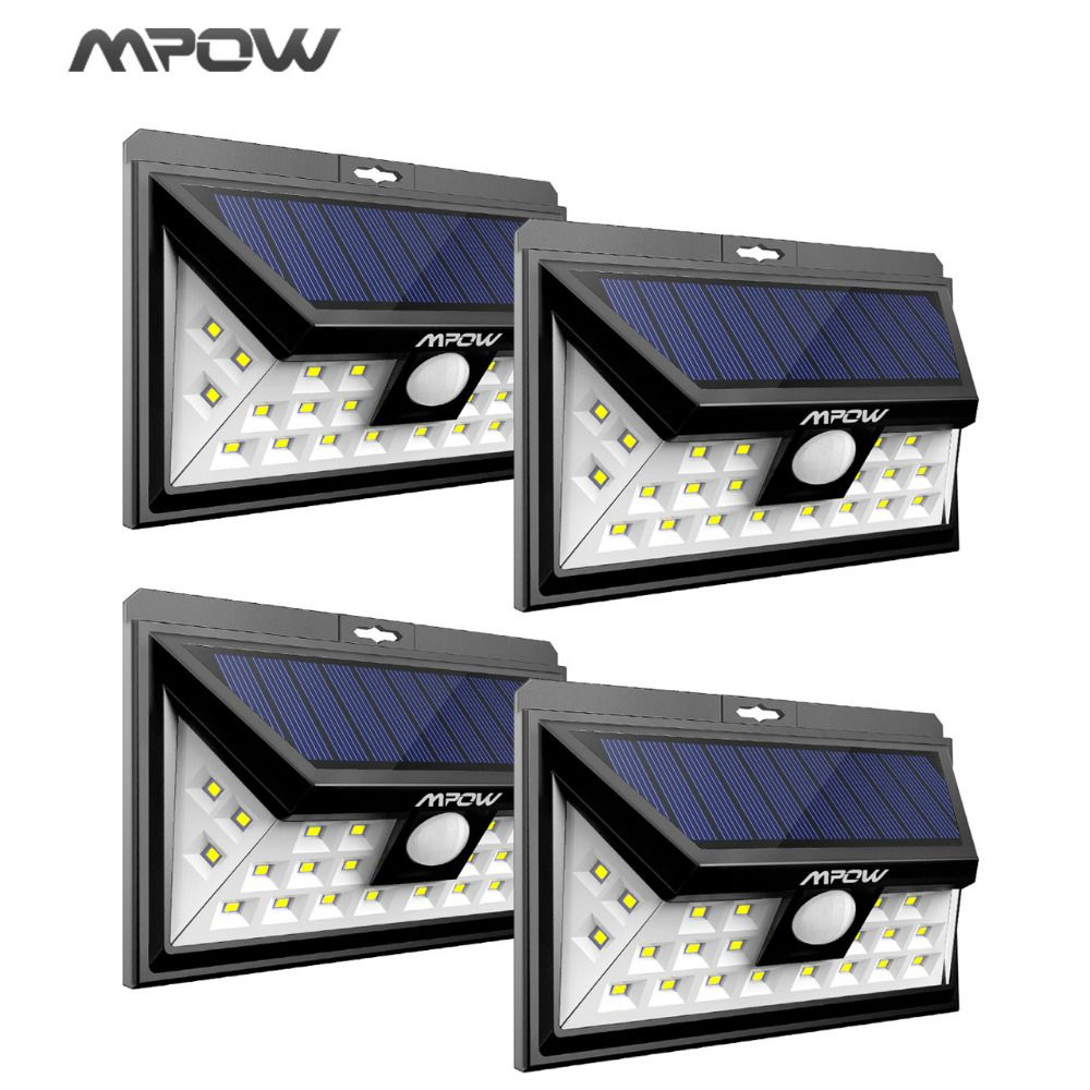 Mpow 24 LED solar lighting 4 pcs IP65 Wide Angle Security Motion Sensor Light with 3 Modes Motion Activated for outdoor Garden