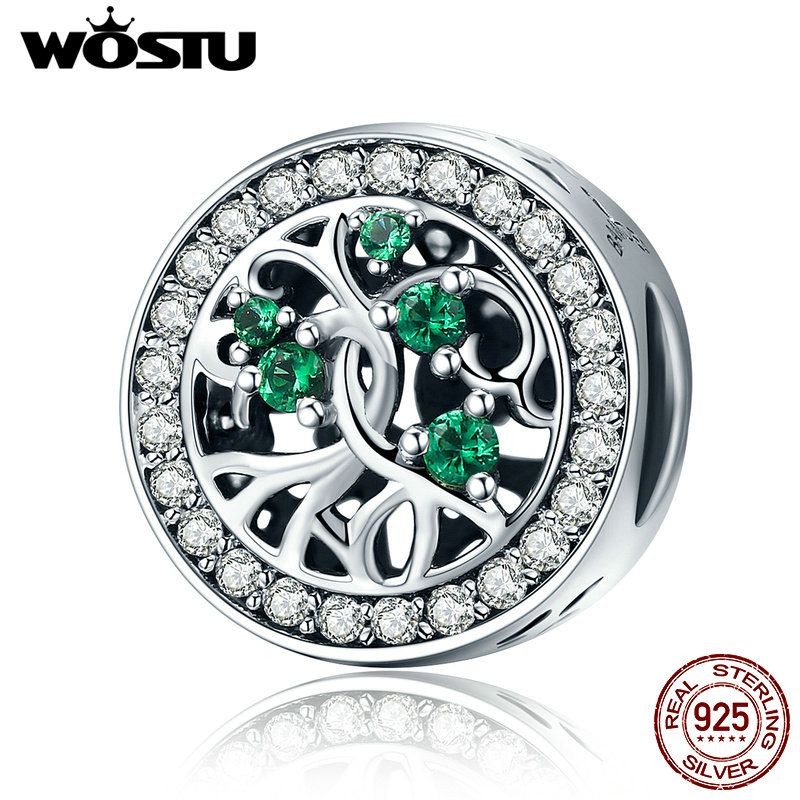 WOSTU New 100% Real 925 Sterling Silver Tree Of Life ,Green CZ Beads Fit Original WST Charm Bracelet Jewelry Gift CQC179