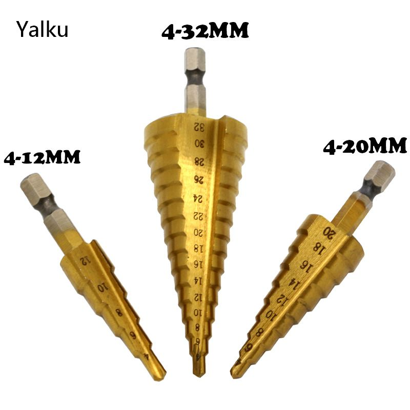 Yalku Metal Drill 4-12/20/32mm Step Drill Bit Spiral Flute HSS Steel Cone Titanium Coated Mini Drill Bit Tool Set Hole Cutter