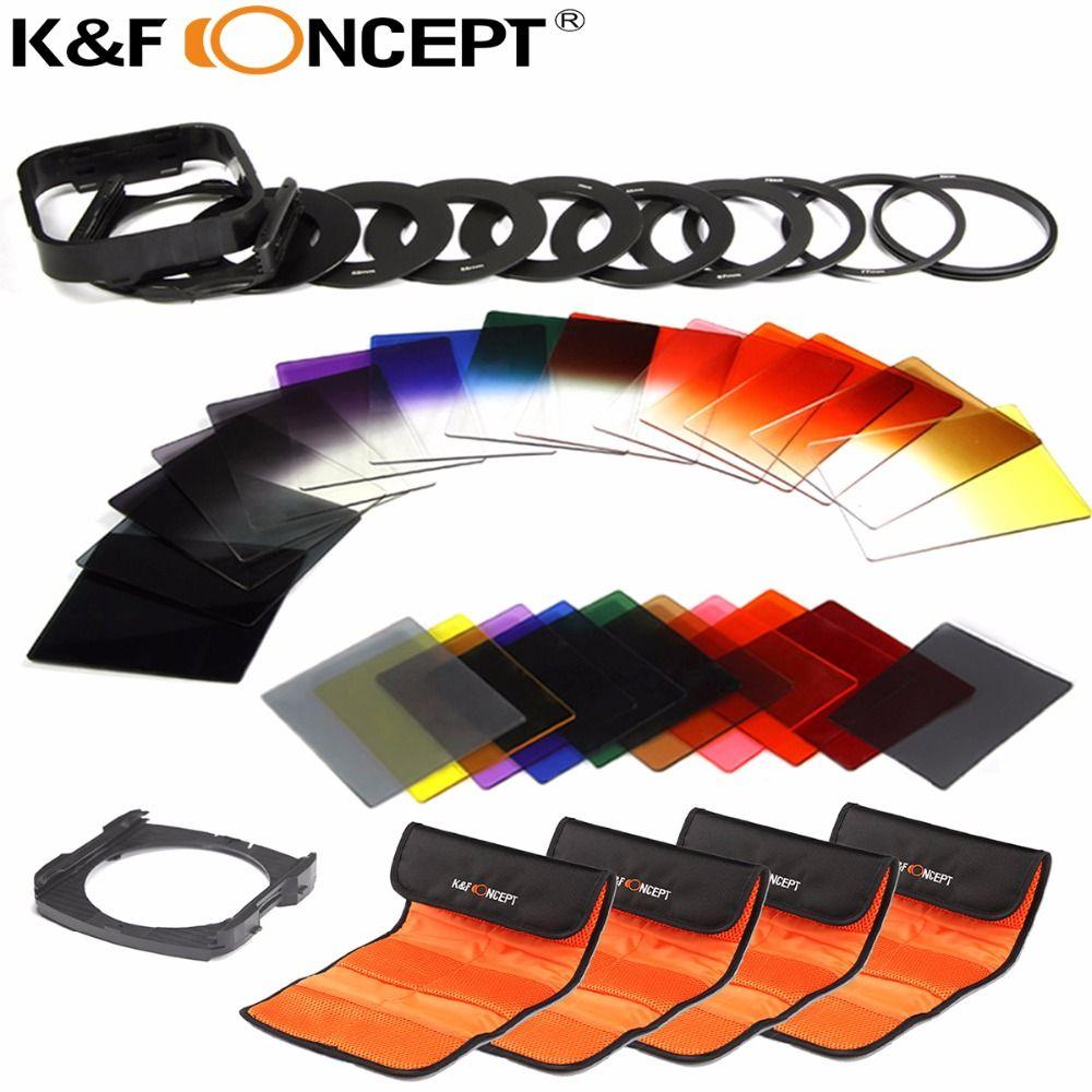 K & F CONCEPT 40 en 1 gradué ND ensemble de filtres de couleur grise kit de support pour Nikon D5300 D5200 D5100 D3300 D3200 D3100 appareils photo reflex numériques