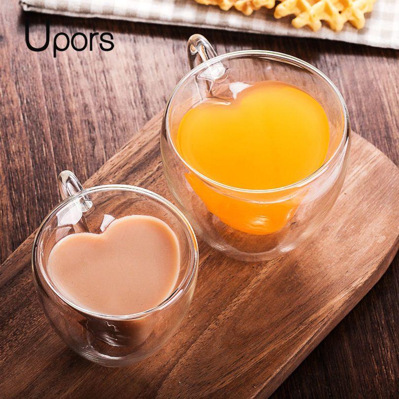 Tasse à café en verre à Double paroi faite main UPORS tasse à thé en forme de coeur isolée résistant à la chaleur Mini tasse à café expresso Double couche