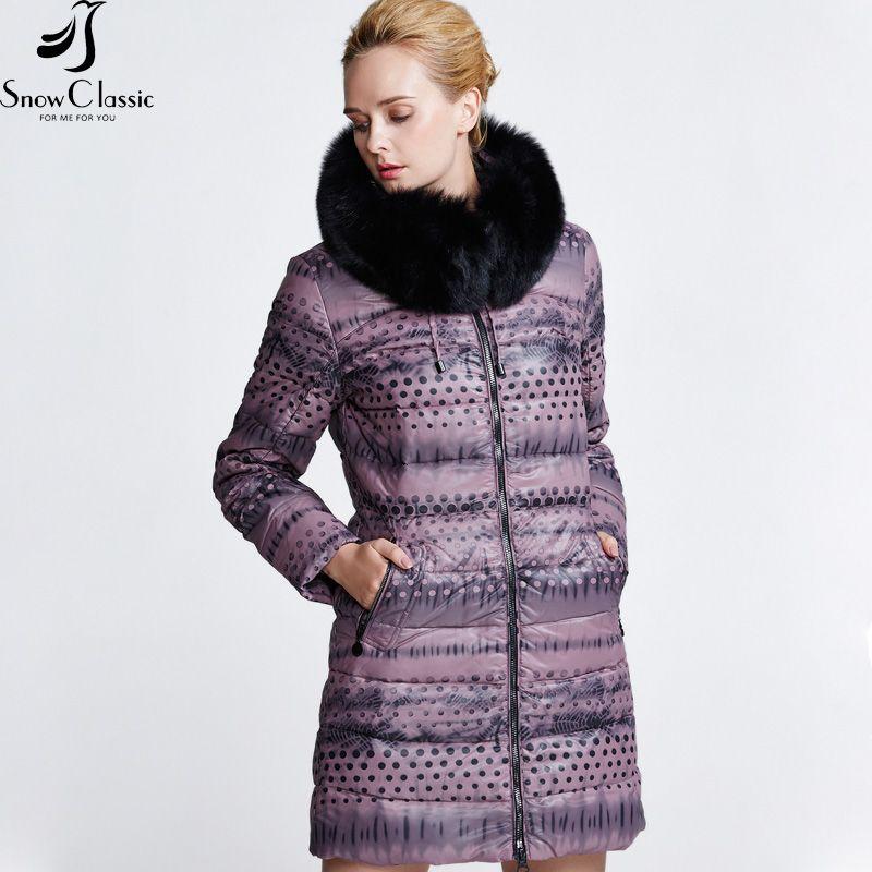 SnowClassic winter warm duck down coat women long jacket ultra light 80% white duck down jackets thick slim ladies 6 color 2018