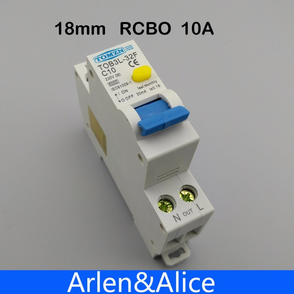 18 MM RCBO 10A 1 P + N 6KA fehlerstromschutzschalter differential automatische schutzschalter mit überstromschutz und Leckage schutz