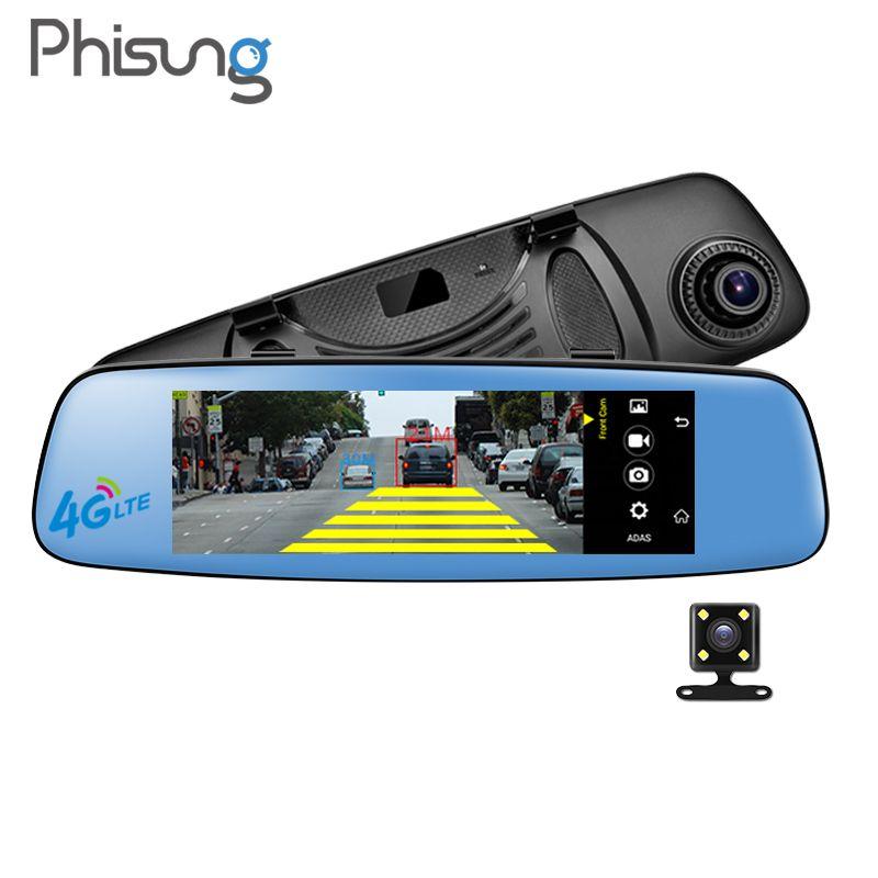 Phisung E06 DVR car Android mirror autoregistrator RAM 1GB ROM 16GB ADAS BT WIFI FM Dual Cameras 7.84